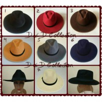 D & D Hat Collection Topi Fedora Lebar Aneka Warna