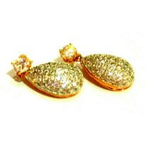Anting Diamond Encrusted Teardrop Dangling Gold Plated Party/Wedding Earrings