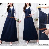SALE JS-221 JUMPSUIT JEANS BIG SIZE JUMBO FIT TO XXL BUSUI BUMIL FRIENDLY