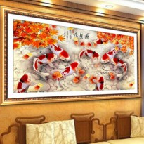 DIY Diamond Painting 5D 9 koi mini Flash. (80x30 CM) D57 . Lukisan Fengshui, Dekorasi.