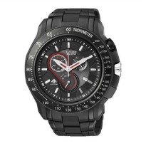 Citizen Eco Drive Mens Chronograph Watch AT0719 55E Full Black Stainless Steel