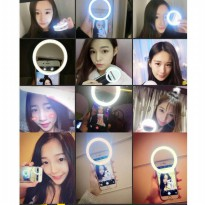 RING SELFIE LIGHT LED CHARM EYES BEAUTY MAKE UP PORTABLE SELFI CLIP