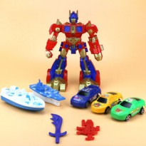 8In1 Set Mainan Robot Transformer Optimus Prime Transformers Play Set