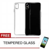 Case for Apple iPhone X - Clear + Gratis Tempered Glass - Ultra Thin Soft Case