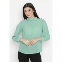 Mobile Power Ladies Turtle Neck Button Variation Blouse - Light Green OK10038