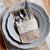 [globalbuy] 100Pieces Vintage 4x8 Hessian Burlap Lace Wedding Tableware Pouch Cutlery Hold/3184791