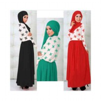 DRESS MUSLIM MURAH CARMILAH FLOWER 3 WARNA SPANDEK