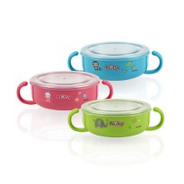 NUBY STAINLESS BOWL MANGKOK ANAK WITH LID & MASHER GRINDER 300ML