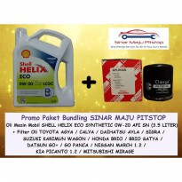 PROMO Paket Bundling SHELL HELIX ECO SYNTHETIC 0W-20 API SN SEGEL HOLOGRAM ORIGINAL & FILTER OLI MOBIL DAIHATSU AYLA