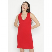 Mobile Power Ladies Sleeveless Mini Dress Knitting - Red OK20376