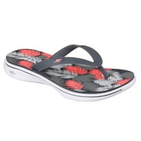 Sandal Jepit olahraga Casual FlipFlop Skechers Dames H2 Goga Lagoon Sandal- Grey/Coral 14680CCCL