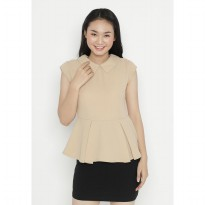Mobile Power Ladies Mini Dress Peplum - Crem OK40034