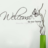 [globalbuy] Welcome to our home butterfly Wall Sticker wall decals Vinyl Wall sticker Livi/3121057