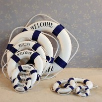 [globalbuy] 6Size14CM~45CM Mediterranean style welcome aboard Cotton Lifebuoy Bar Living R/3134900