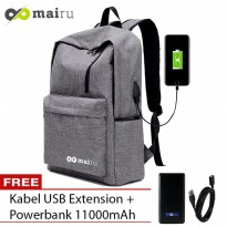 Mairu 1711 Tas Ransel Smart Backpack USB Port Charger Free Powerbank