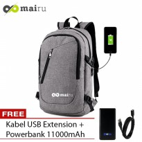 Mairu 0219 Tas Ransel Smart Backpack USB Port Charger Free Powerbank