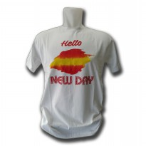 Distro Quality & Size MCD White Model Hello NEW DAY (Cotton Combed 24S)