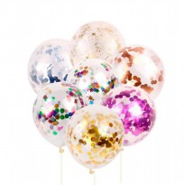 Transparan Balloon Round Sequin Confetti Latex 12