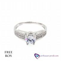 Cincin Perak 925 White Ring Crystal Sterling Silver Free Box