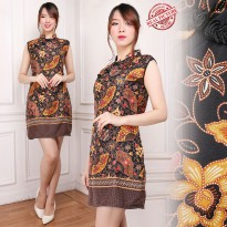 Cj collection Dress batik cheongsam maxi pendek wanita jumbo mini dress Lanita M - XL