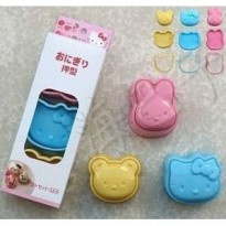 Set Cetakan Nasi Mini Motif Hello Kitty + Beruang + Kelinci (1 Set Isi 3)