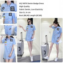 Denim Badge Dress (BLUE size S,L)-14979