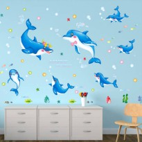 [globalbuy] Cartoon Fish Dolphin Vinyl Removable Self Adhesive Home Decal for Bedroom Livi/3743634