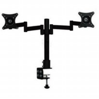 Table Mount Dual Arm TV Bracket 100 x 100 Pitch for 15-27 Inch TV - Black