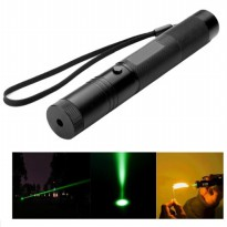 Green Beam Aerometal Handheld Adjustable Focus Laser Pointer 1MW 532NM - Black