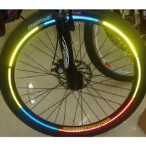 Bicycle Wheel Reflective Sticker / Stiker Roda Sepeda - 8 Strip - Yellow