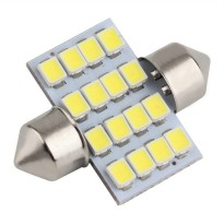 Lampu Interior Mobil LED Super White 31mm Festoon 16 SMD 1210 - 2PCS - White