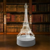 Lampu 3D LED Transparan Desain Eiffel Tower - White