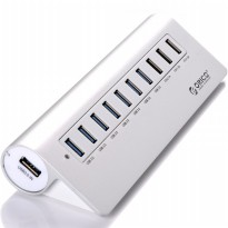 Orico Aluminium USB 3.0 High Speed HUB 7 Port + 3 Charging Port - M3H73P - Silver