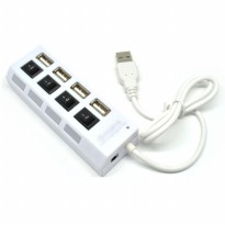 4 Ports USB 2.0 HUB With Independent ON OFF Switch Model UH041 - White