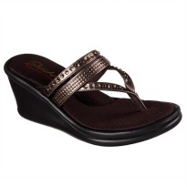 Sandal Jepit Casual FlipFlop Skechers Cali Wedges - Brown 38559BRZ