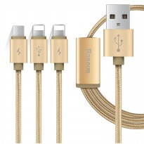 Baseus 3 in 1 Micro USB & 2 Lightning USB Cable 1.2 Meter - Golden