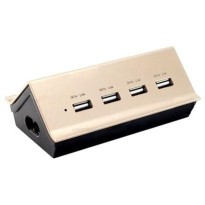 Remax Goldhouse RU-U2 4 Ports USB Hub Charger 4.2A - Black Gold