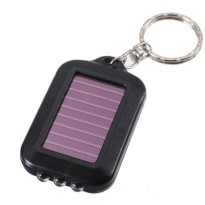 Mini LED Solar Power Rechargeable with Keychain - Black