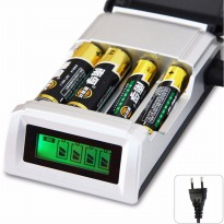 Smart Intelligent LCD 4 Slot Charger Baterai for AA AAA NiMh NiCd - C905W - Black