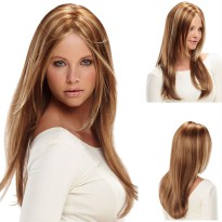 Wig Rambut Palsu Model Long Straight - Brown/Gold