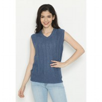 Mobile Power Ladies Sleevless Outer Knitting- Blue D20253C