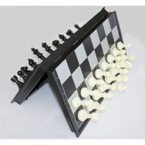 Permainan Papan Catur Magnet Folding Chessboard - Black White