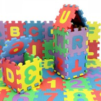 Puzzle Foam Aplhabet & Angka 36PCS - Multi-Color