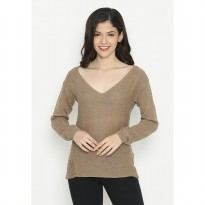 Mobile Power Ladies Knitting Variation Sweater - Brown Gold D20383