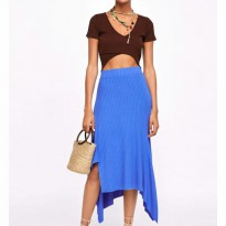 original zara asymetric ribbed skirt
