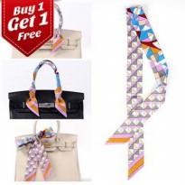 [SCARF] 025614r Buy 1 Get 1 Free Premium Twilly Scarf French Silk Light Pink Grey Chevron