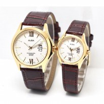 Jam Tangan Couple ALBA KULIT SEPASANG TANGGAL DARK BROWN GOLD WHITE