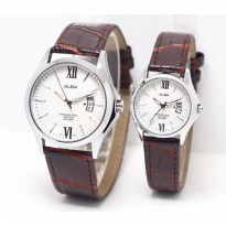 Jam Tangan Couple ALBA KULIT SEPASANG TANGGAL DARK BROWN SILVER WHITE