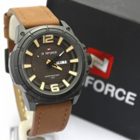 Jam Tangan Analog Jam Tangan Pria \ Cowok Naviforce NF9066M Original Leather Dark Brown