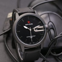 Jam Tangan Analog Jam Tangan Pria \ Cowok Ripcurl Qruz Leather Light Black Silver